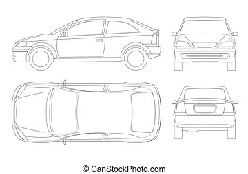 Sedan Car in lines. Isolated car, template for car branding...