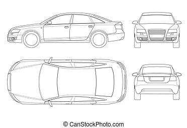 Sedan car in outline. Business sedan vehicle template vector...