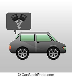 sedan car keys design vector illustration eps 10