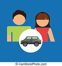 sedan, car, par, desenho