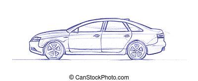 Sedan - Car drawed with a pen. hand drawn