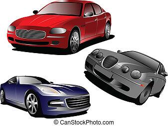 sedan., illustra, tres, vector, cars.