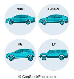 Sedan saloon passenger automobile, hatchback, crossover and sport utility vehicles