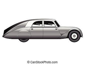 Sedan - vintage model of car - Illustration of the sedan -...