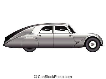 Sedan - vintage model of car - Illustration of the sedan -...