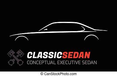 sedan, voiture, silhouette, cadre