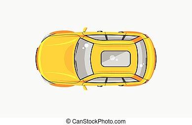 sedan, voiture, vue dessus