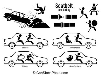 sede automobile, cintura, e, airbag.