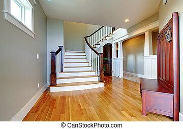 sede lusso, bello, corridoio, con, grande, scala, e, legno, floor.