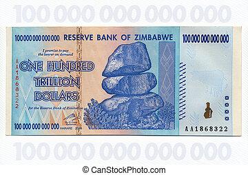 sedel, dollar, trillion, -, en, zimbabwe, hundra
