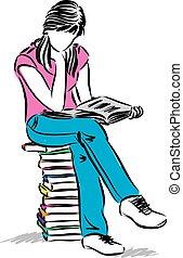 sedendo ragazza, adolescente, illustrazione, libro lettura