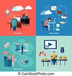 Sedentary Icon Flat - Sedentary design concept set with low...