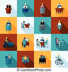 Sedentary Icon Flat - Sedentary lifestyle low mobility work...