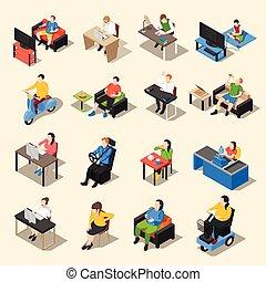 Sedentary Life Icon Set - Sedentary icon isometric...