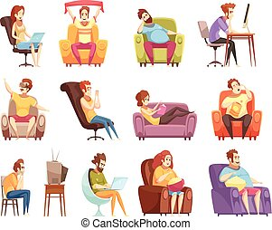 Sedentary Lifestyle Retro Cartoon Icons Set - Sedentary...