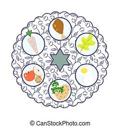 seder, 食物, プレート, 漫画, illustration., ベクトル, 過ぎ越しの祝い