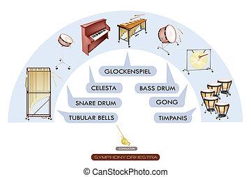 sedere, banda, sinfonico, grafico, strumento percussione