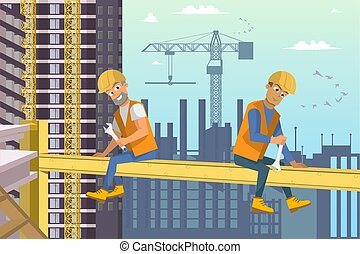 sedere, casa, due, trave, sopra, costruttori, construction.