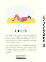 sedere-ups, donna, tappeto, esercizio, idoneità