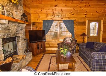 sedere, zona, in, capanna di tronchi