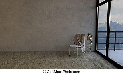 sedia, 3d, stanza, vuoto, contemporaneo