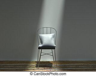 sedia, bianco, metallo, comune, cuscino