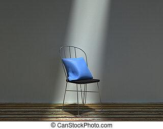 sedia blu, metallo, comune, cuscino