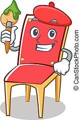 sedia, carattere, cartone animato, collezione, artista