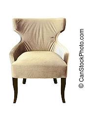 sedia cuoio, isolato, bianco