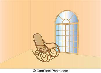 sedia dondolo, finestra