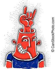 sedia dondolo, immagine, suo, esposizione, fan., eccitato, simbolo, illustrazione, n, head., vettore, musica, roccia, disegnato, mano, rotolo, fresco