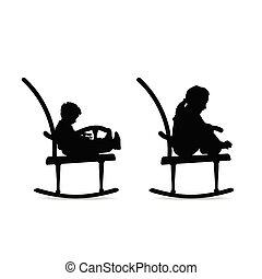 sedia dondolo, silhouette, bambini