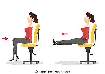sedia, donna, esercizio, seduta