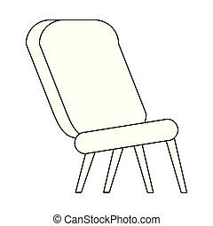 Sfondo nero, sedia, legno, disegno, bianco.