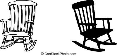 Vecchio, legno, fondo, sedia, oscillante, bianco.