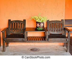 sedia legno, wall.