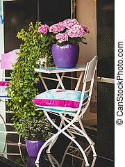 sedia metallo, tavola giardino, e, piante, in, otri