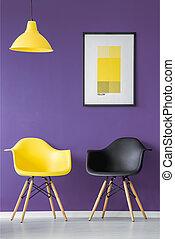 sedia, nero, giallo