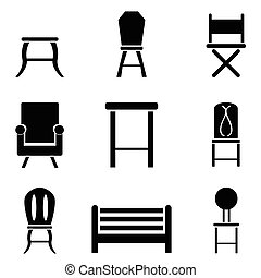 sedia, set, icona