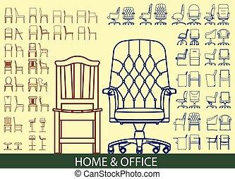 sedia, set, mobilia, icona
