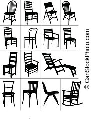 sedia, silhouettes., set, grande, casa