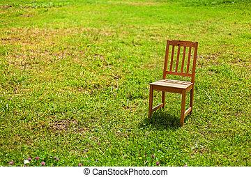 sedia, solitudine, erba
