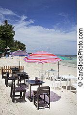 sedia, spiaggia, rilassante, ponte
