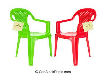 sedia, verde, dibattito, rosso