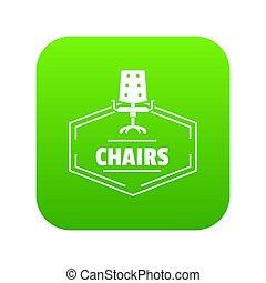sedia, verde, icona