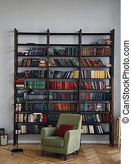 sedia verde, in, il, interior., libreria, con, vecchi libri, su, il, shelves., libri, in, un, vecchio, legno, gabinetto