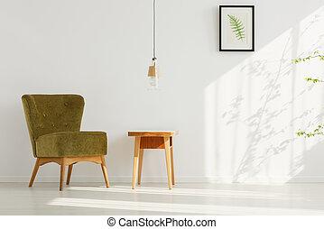 sedia, verde, stanza, comodo