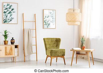 sedia, verde, stanza, rilassare