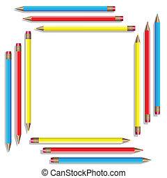 sedici, colorare, pencils., vettore