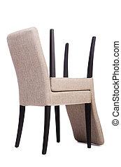 sedie, bianco, set, isolato